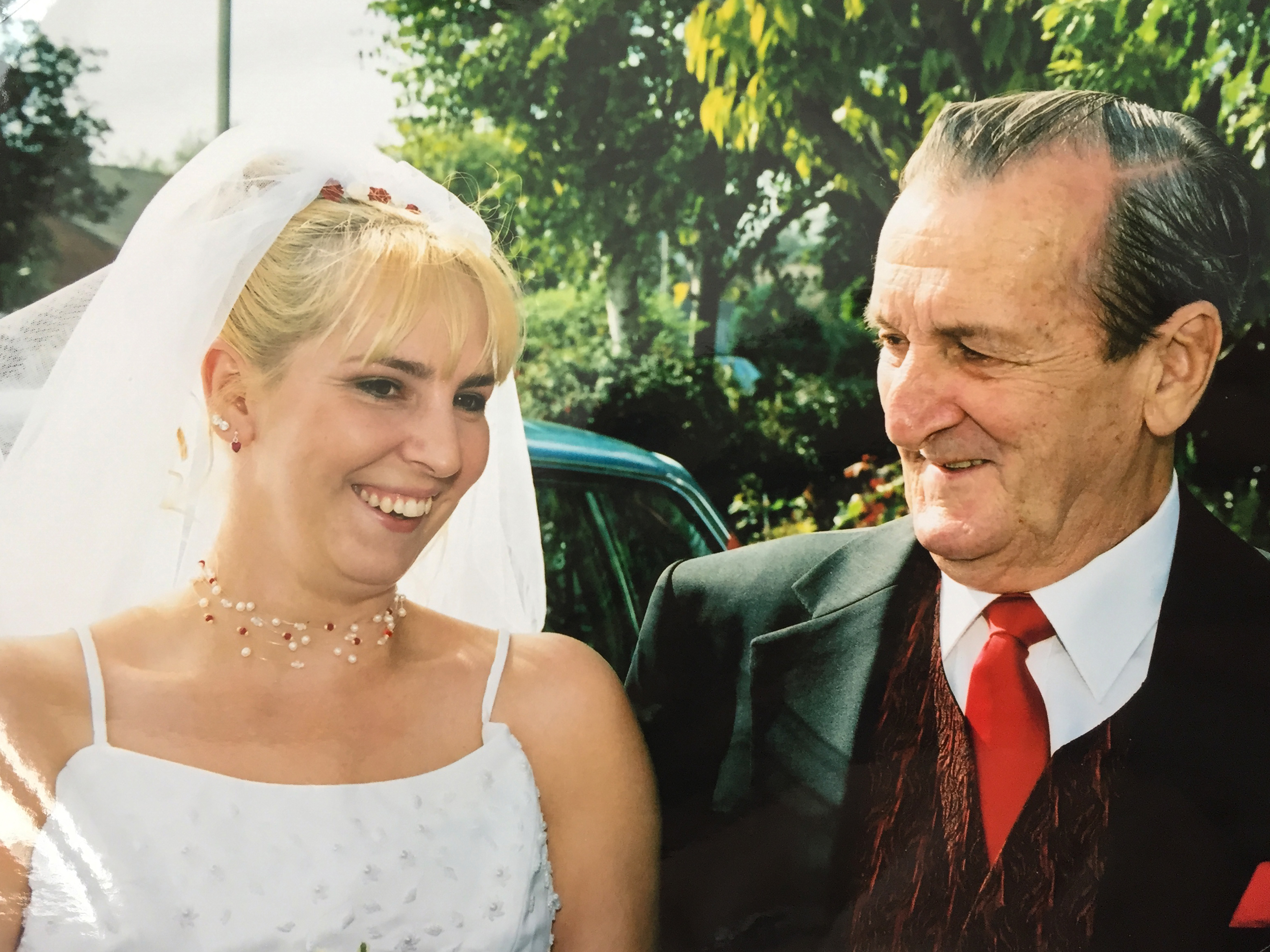 Father and daughter on wedding day